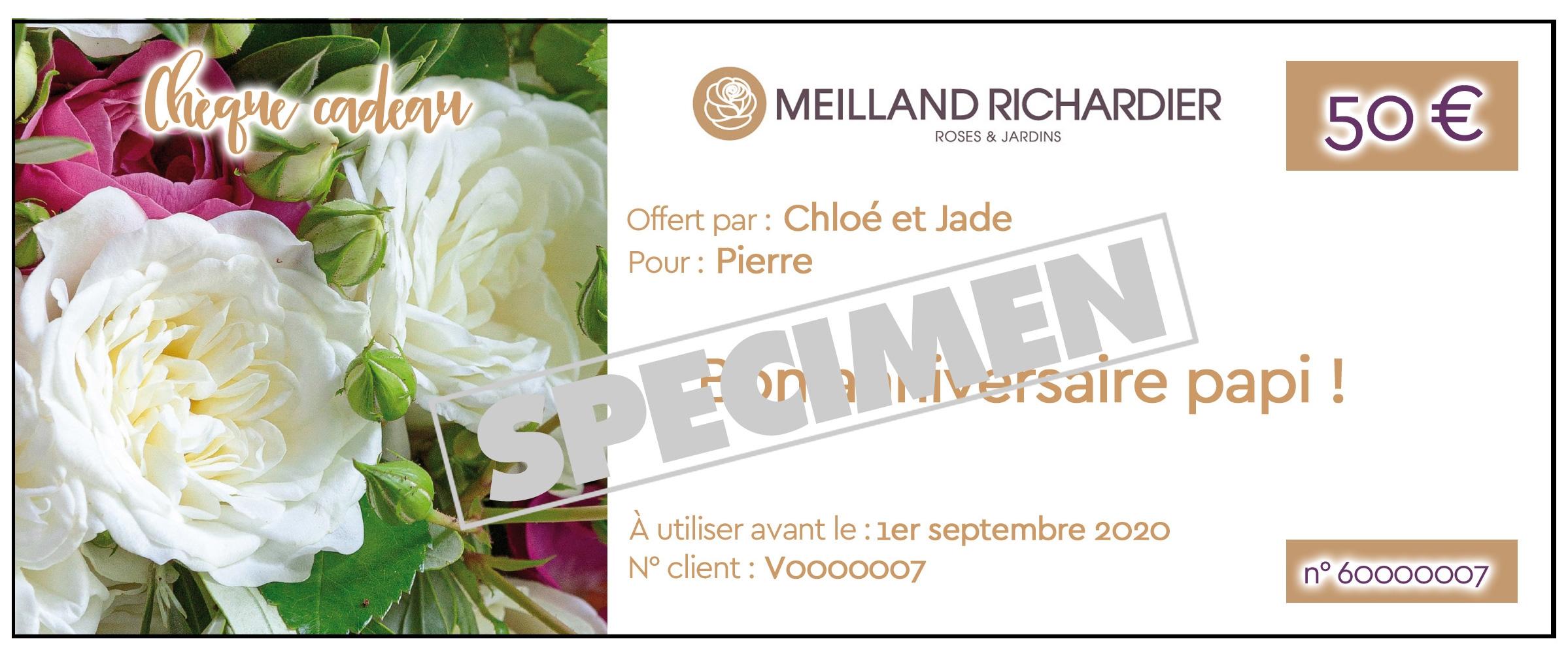 Chèque cadeau Meilland Richardier