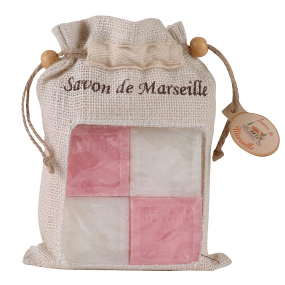 Lot de 4 savons rose + nature